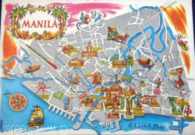 postcards, map cards, Philippines