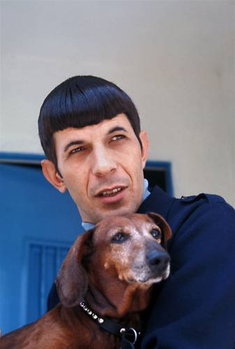 Leonard Nimoy and a dog