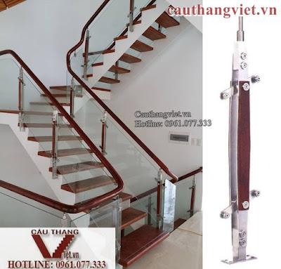 cau thang kinh K001 - Mẫu cầu thang kính tay vịn gỗ đẹp cho biệt thự hiện đại