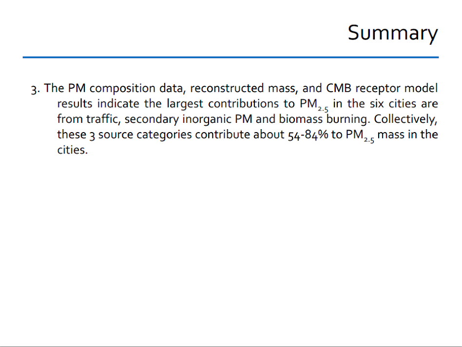 Summary. PM composition data, reconstructed mass, and CMB receptor model.