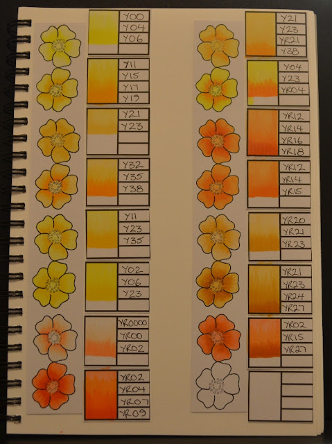 Elizabeth Whisson, copic journal, copic, copic colours, Y, YR, yellow, ornage, Annabelle Stamps