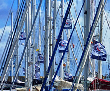 ARC Rally flags flying at start in Las Palmas, Grand Canaria
