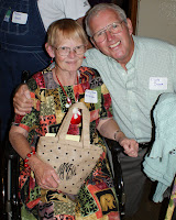 Clyde Dover welcomes acclaimed quilter, fellow class member Mary Alma McAlister to the recent Walhalla High's fiftieth class reunion