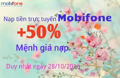 Mobifone khuyến mãi 50% khi nạp tiền trực tuyến vào 28/10