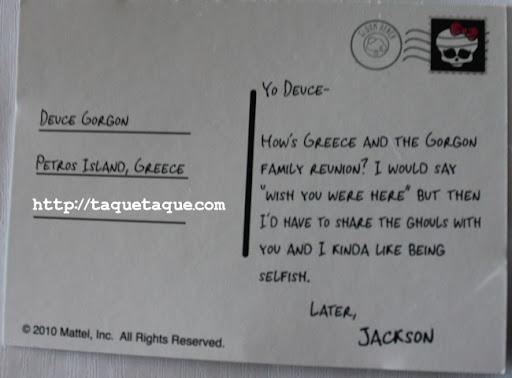 Postal de Jackson Jekyll para su amigo Deuce Gorgon