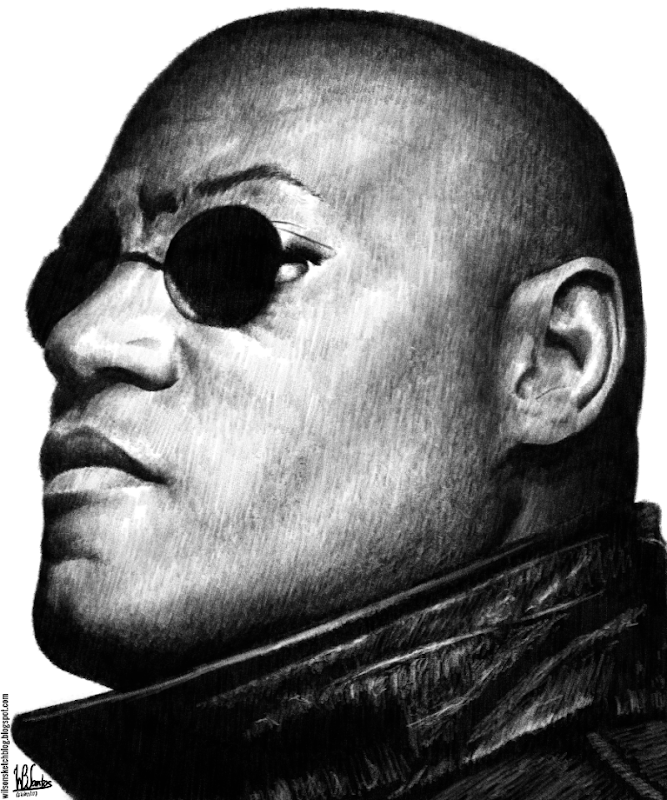 Pencil drawing of Lawrence Fishburne as Morpheus, using Krita 2.7 Alpha.