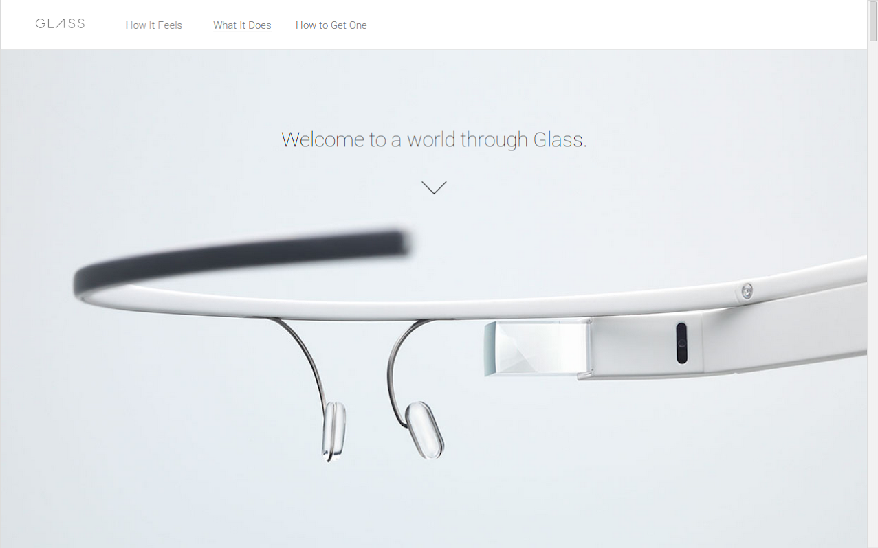 Google Glasses Homepage