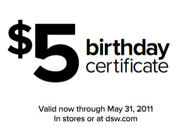 DSW coupon code may 2011
