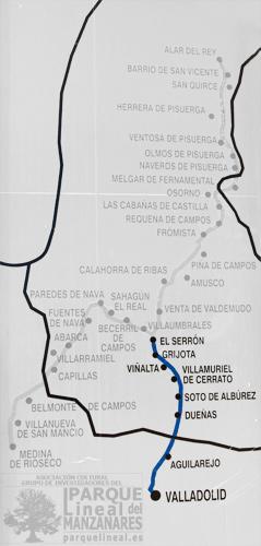 Mapa Ramal del Sur. Canal de Castilla.