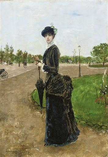 Norbert Goeneutte - Femme élégante a l'entrée du Bois de Boulogne, 1880