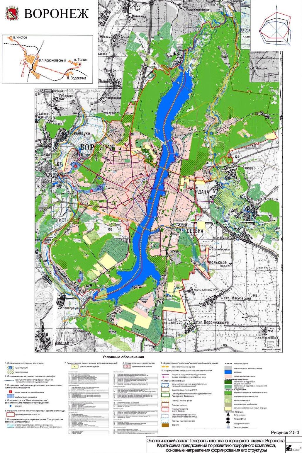 Карта-схема предложений по развитию природного комплекса, основные направления формирования его структуры
