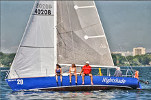 J/27 sailing upwind with women crew