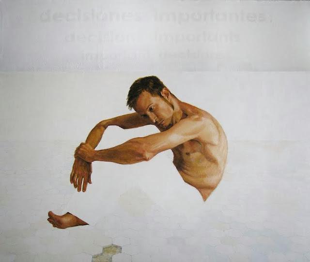 Decisiones importantes,Decisions importants,pintura mixta, retrato del pintor Jordi Gamón Blanch
