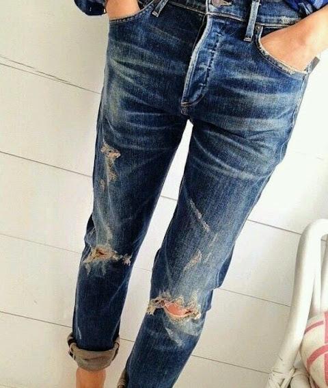 DIY jeans deshilachados