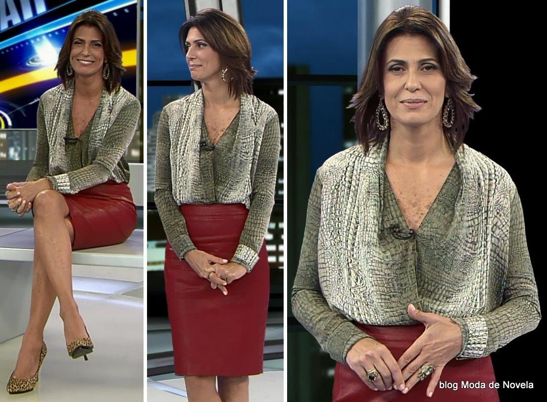 moda do programa Domingo Espetacular - look da Janine Borba dia 29 de junho