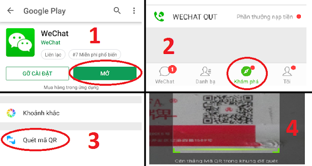 Các bước cài đặt phần mềm wechat để kiểm tra mã QR thanh nhôm thật giả