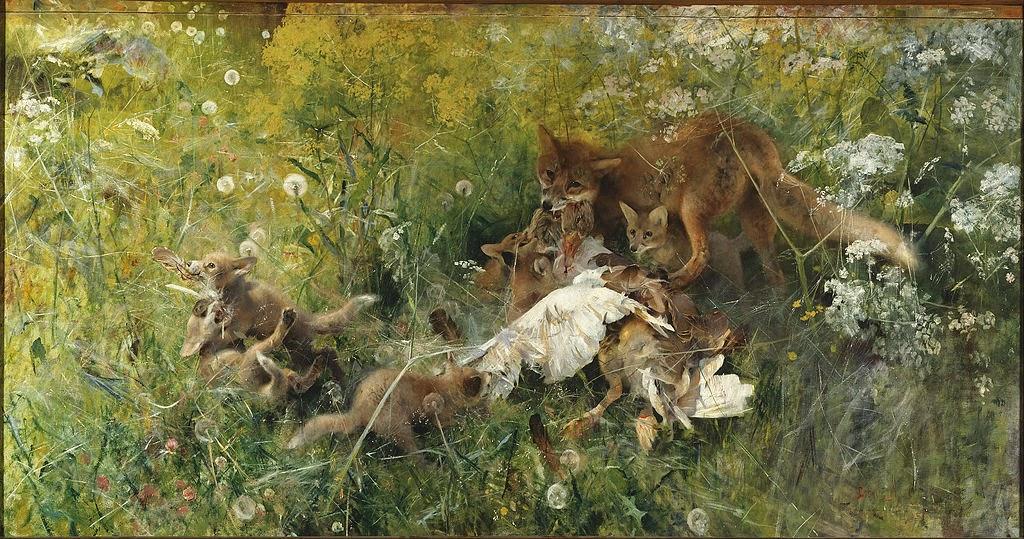 Bruno Liljefors - A Fox Family