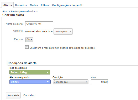 Alerta personalizado do Analytics