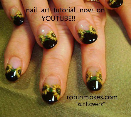 Nail Art By Robin Moses Nails Magazine June 2011 Sunflower Nail Art
