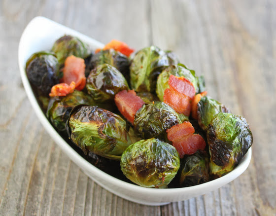photo of Bacon Roasted Brussels Sprouts in a white bowl