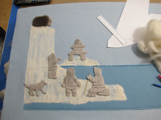 The felted icebergs start to take shape