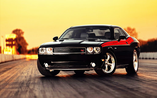 Black Dodge Challenger on Road