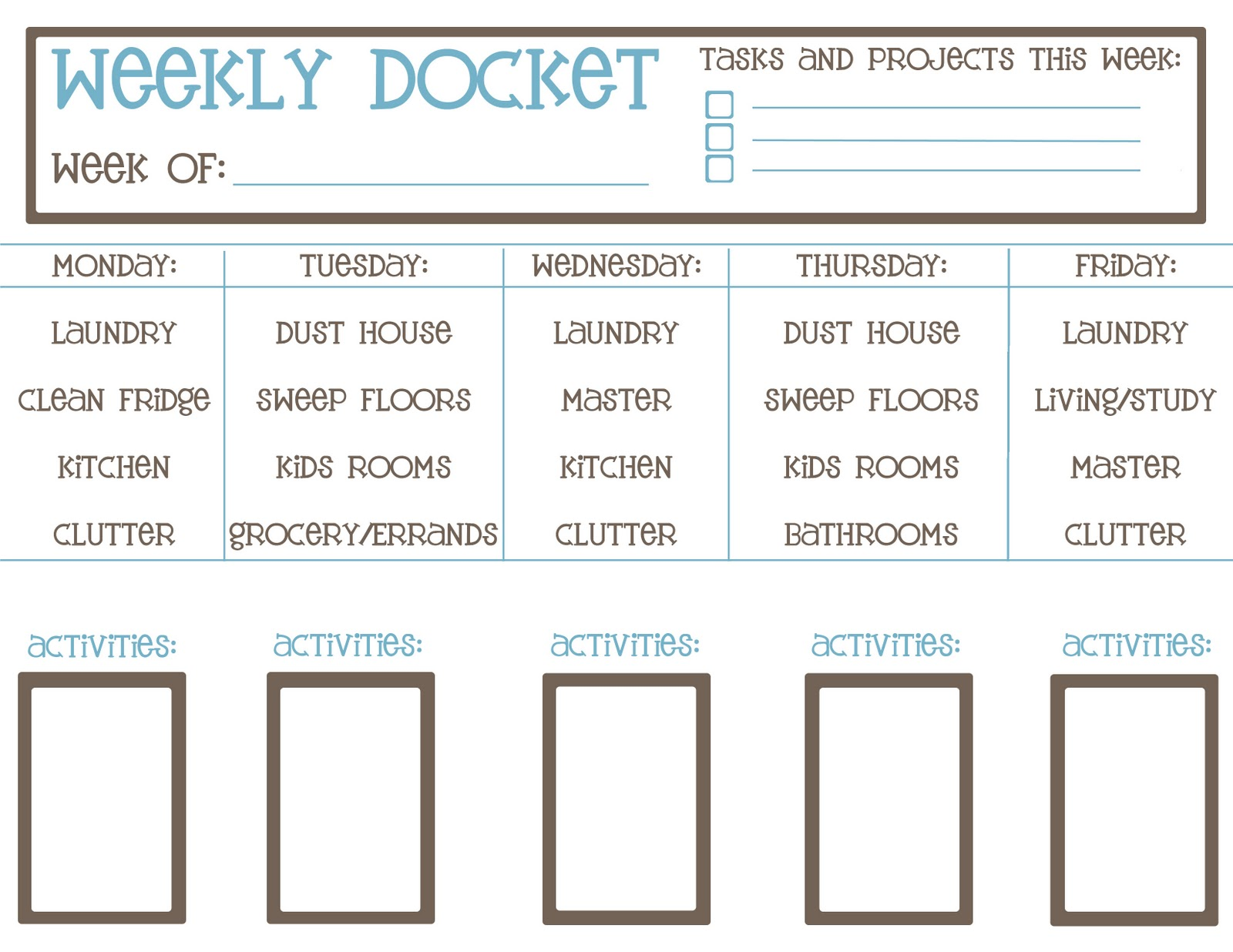 o ink design studio weekly chore checklist printable