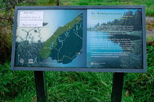 destination, Lake Matheson, sign board, Mirror lake, information, New Zealand, Philip Avellana, regional parks, tour, tourism, tourist attraction, West Coast