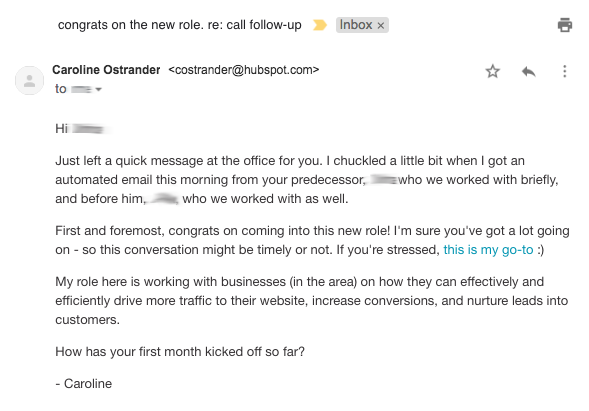 Sales hacker's lead generation email example