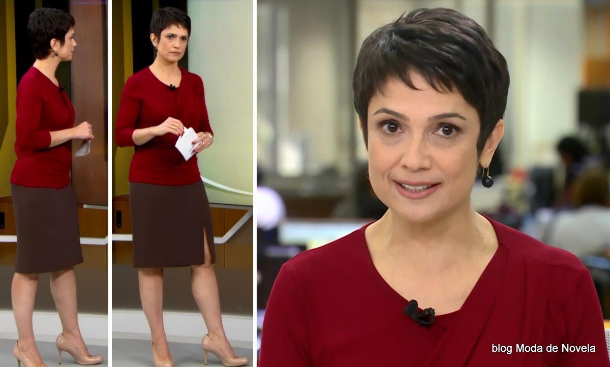 moda do programa Jornal Hoje - look da Sandra Annenberg dia 5 de junho