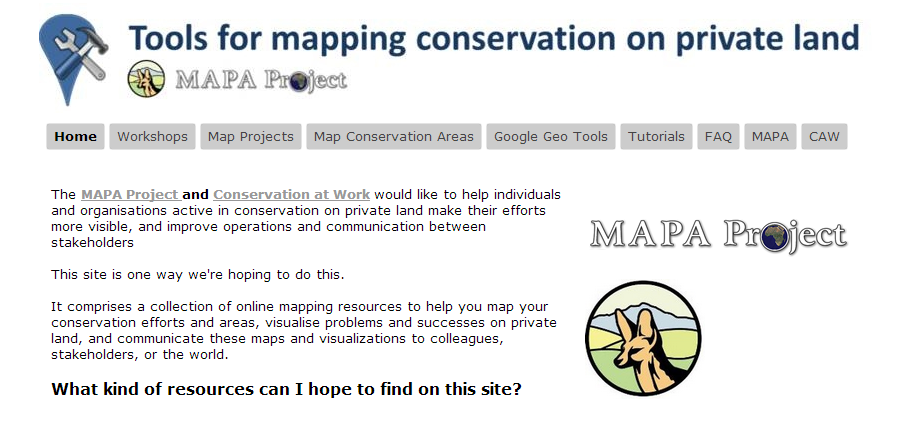 Mapa project google geo tools the tools for mapping conservation on private land website comprises a collection of online mapping resources to help you map your conservation efforts sciox Images