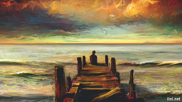 tranh buồn trước biển
