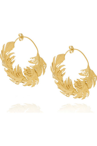 Alex Monroe Gold-Plated Feather Earrings