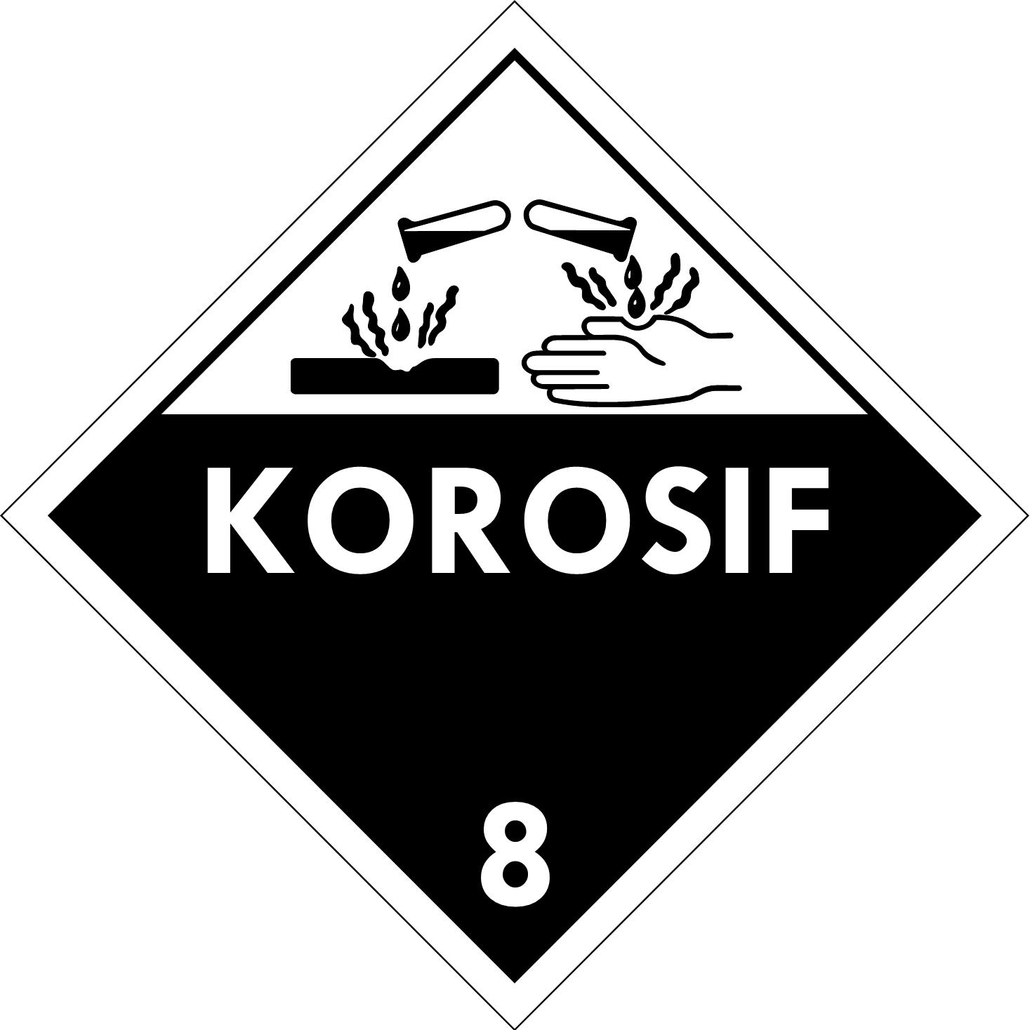 Label (Simbol) Transportasi Bahan (Material) Korosif 8