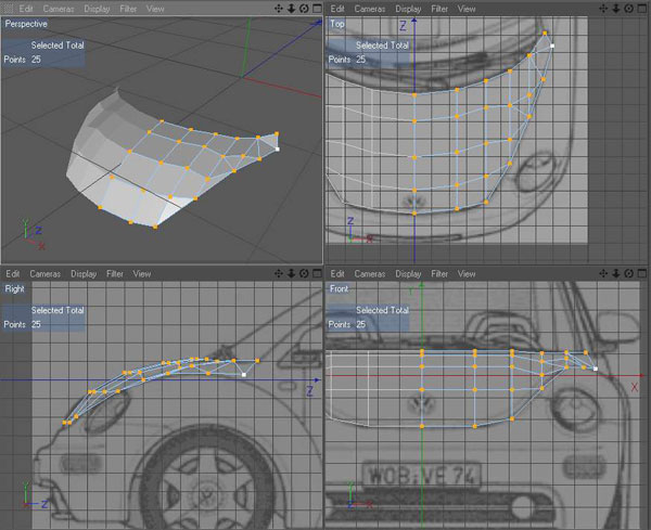 All tutorials modeling a car using blueprints in your objects manager right click on the polygon object select the cinema 4d tags and in the menu select the phong tag this will make you bonnet look malvernweather