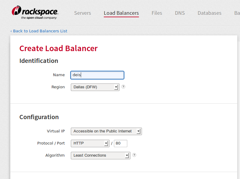 creating load balancer