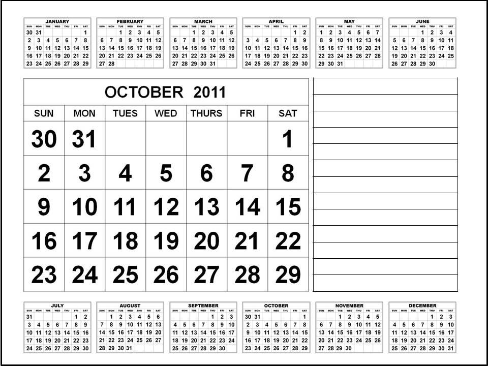 october calendar 2011. Calendar 2011 October :