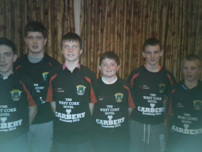 Carbery academy 2015: Six Newcestown players received jerseys and certs at a function in the West Cork Hotel on 21/12/2014. Included are, Dara Buttimer, David Buckley, Daire Mc Aree , Tadgh Galvin , Olan Walsh and Eoin Collins.