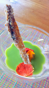 Nodoguro July 2014 Cucumber soup with fermented ume, and Nasturtium