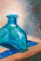 """""""Blaue Glasflasche"""" 30x20cm Öl auf Bord"""