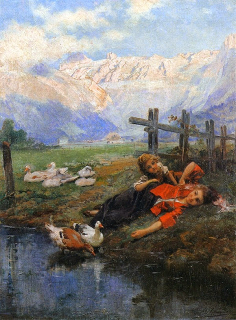 Daniel Hernández Morillo - Children and Geese by a Pond