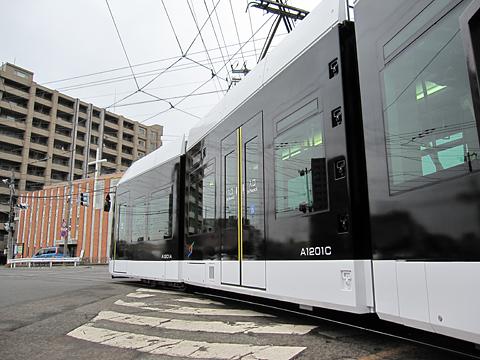 札幌市電 A1201号 電車事業所出庫