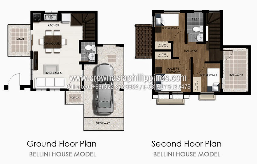 Floor Plan of Ponticelli - Bellini | House and Lot for Sale Daang Hari Bacoor Cavite