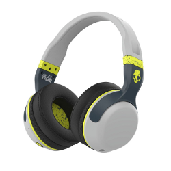 Skullcandy S6HBGY-384 Hesh 2 Wireless Headphones with Mic, Light Grey and Hot Lime - image
