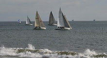 J/105 one-design sailboats- sailing off Santa Barbara Yacht Club