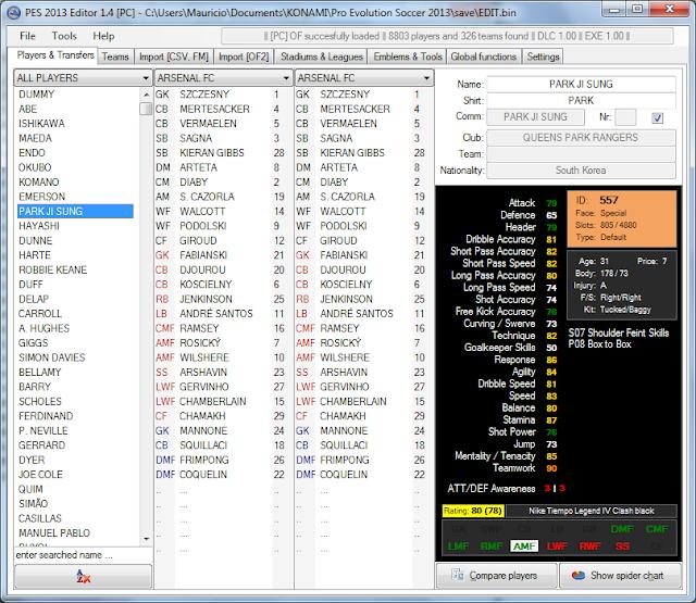 PES Editor 1.4 - PES 2013