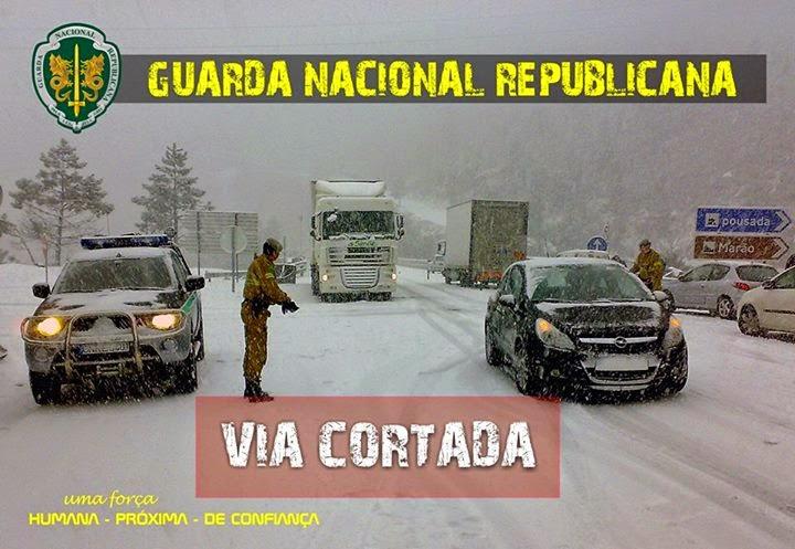 Situação das estradas cortadas no distrito de Viseu (12H30)