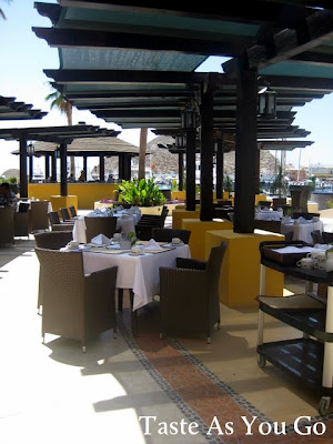 Outdoor Patio at the Wyndham Cabo San Lucas in Cabo San Lucas, Mexico - Photo by Michelle Judd of Taste As You Go