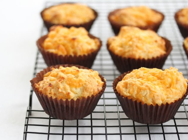 photo of Macaroni and Cheese Muffins on a baking rack