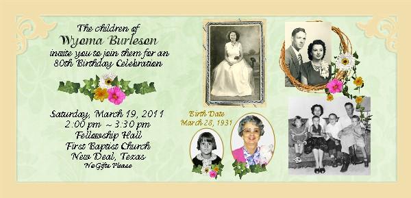Moms 80th Birthday Invitations